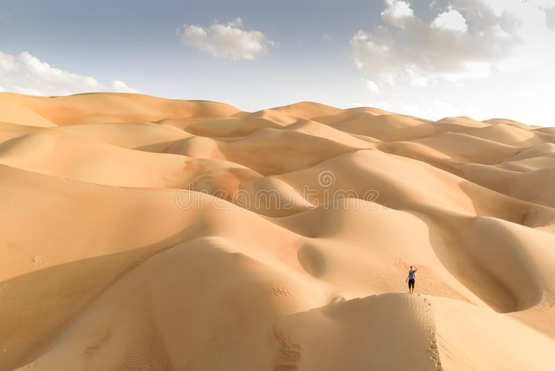 Aeril view of Liwa desert, part of Empty Quarter, the largest co stock photography