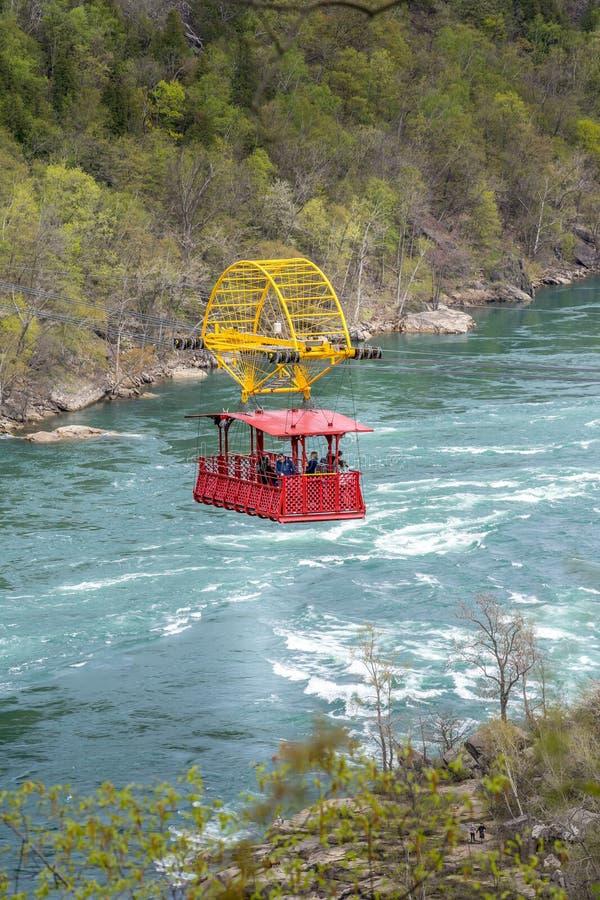 Aero Cable car suspended on Niagara Whirlpool wild river royalty free stock photos