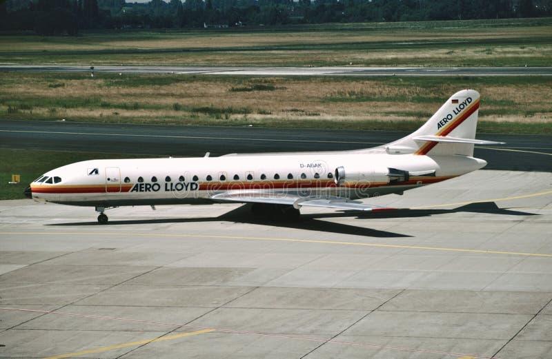 Aero CN 232 юга SE-210 Caravelle 10R D-ABAK Ллойд приезжает на Дюссельдорф Rhein-Рур, Германию стоковые фотографии rf
