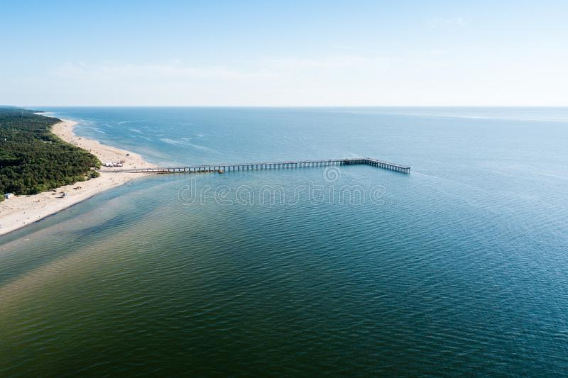 Aero fotografia trutnia plaży palanga Lithuania na słonecznym dniu obraz stock