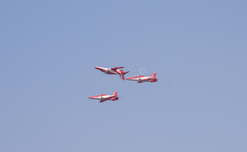 Aero India Show. Fighter jet doing aerobatic manoeuvres during the recently concluded Aero show in India stock photos