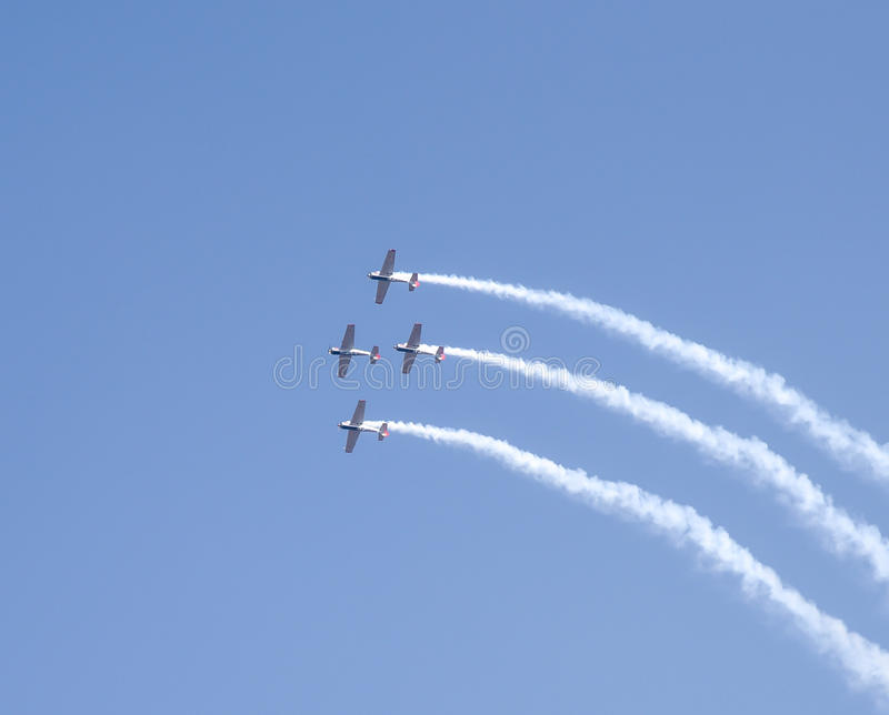 Aero India Show. Planes doing aerobatic manoeuvres during the recently concluded Aero show in India stock photos