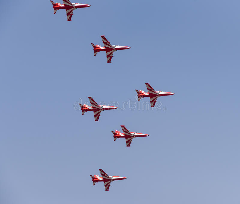 Aero India Show. Planes flying in a synchronised formation during the recently concluded Aero show in India royalty free stock image