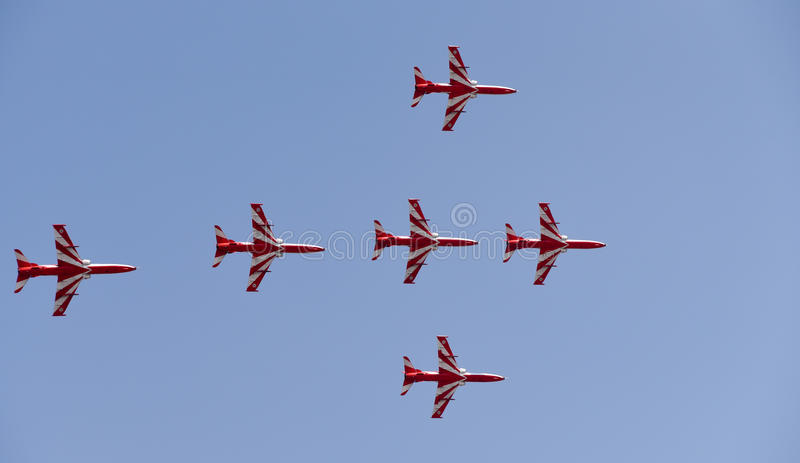 Aero India Show. Planes flying in a synchronised formation during the recently concluded Aero show in India stock photography