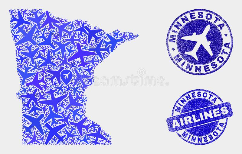 Aero kolażu Minnestoa stanu Grunge i mapy Wektorowe foki ilustracji