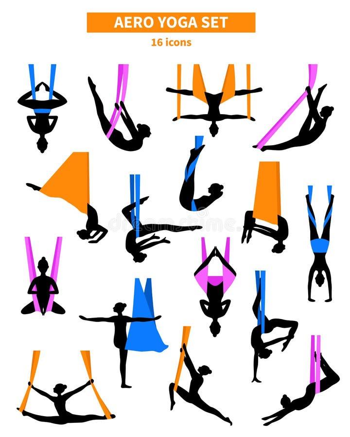 Aero Yoga Black White Icon Set vector illustration