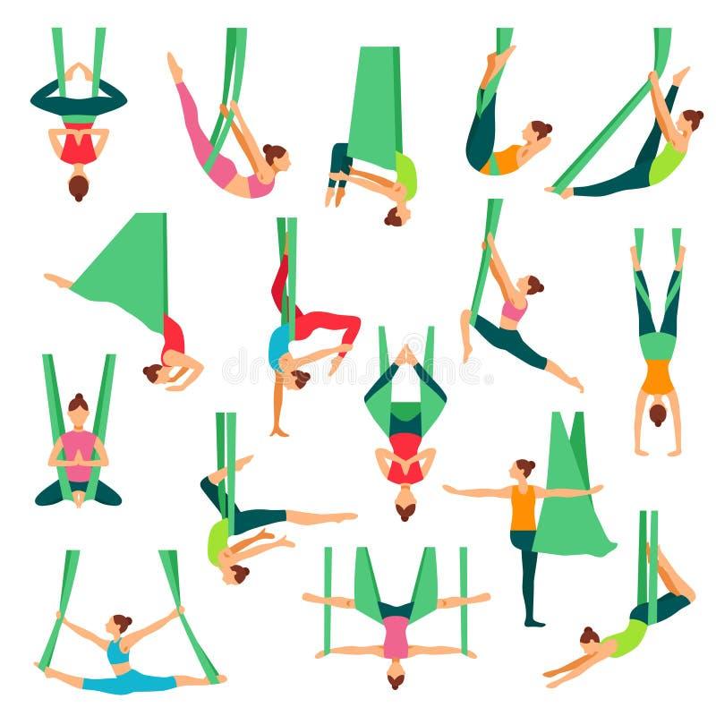 Aero Yoga-dekorative Ikonen eingestellt stock abbildung