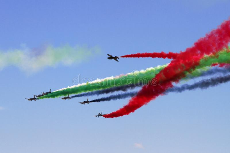 Aerobatic display team from the United Arab Emirates at the International Aviation and Space Salon in Zhukovsky. stock photo