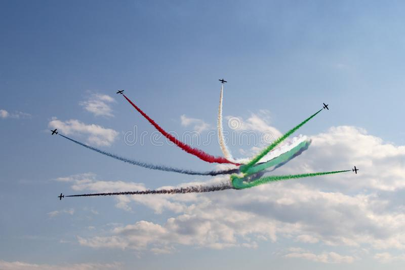 Aerobatic display team from the United Arab Emirates at the International Aviation and Space Salon in Zhukovsky. royalty free stock photography