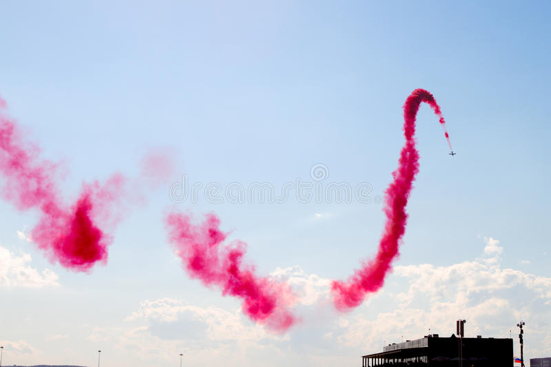 Aerobatic display team from the United Arab Emirates at the International Aviation and Space Salon in Zhukovsky. stock image