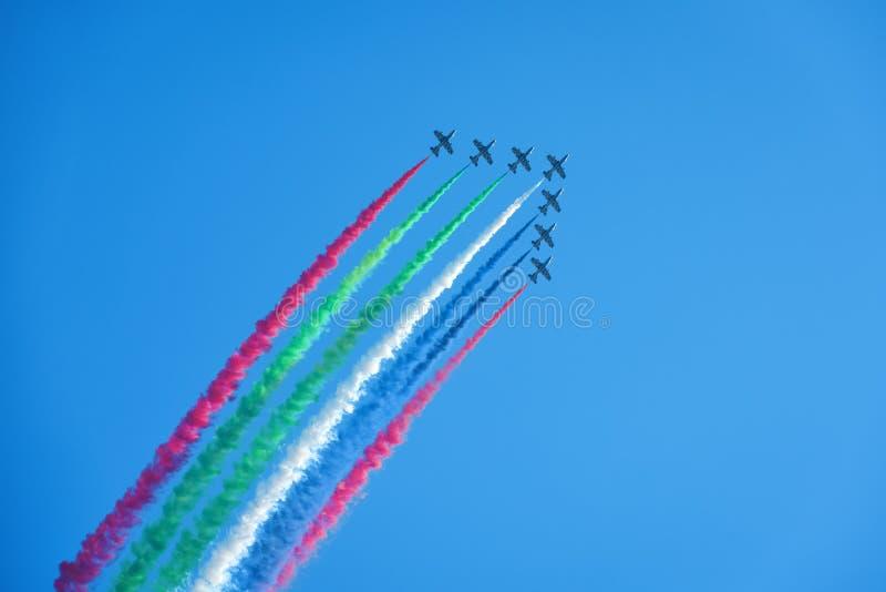 Aerobatic display team from the United Arab Emirates stock photos
