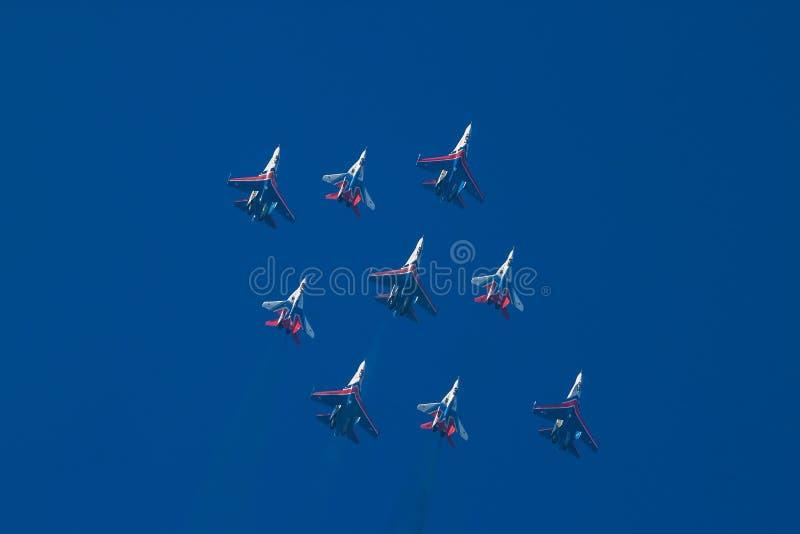 Aerobatic drużyny w diamentowej formaci obraz stock