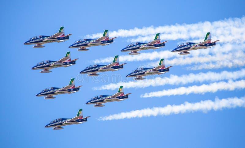 Aerobatic grupowy Frecce Tricolori zdjęcie royalty free