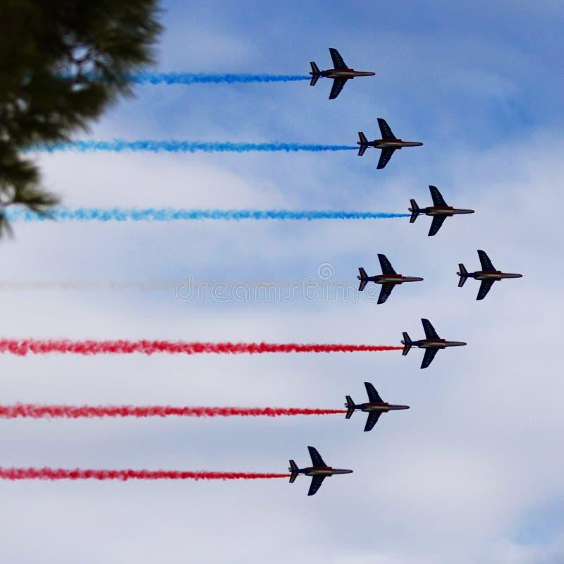 Aerobatic przedstawienie w Francja obraz stock