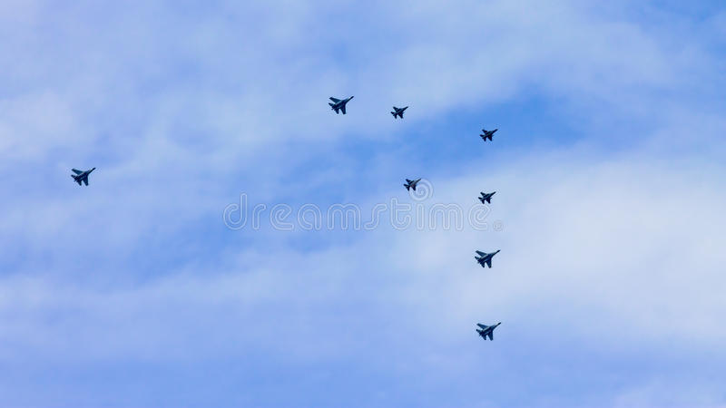 Aerobatic Team Aircrafts Flyby stock photo