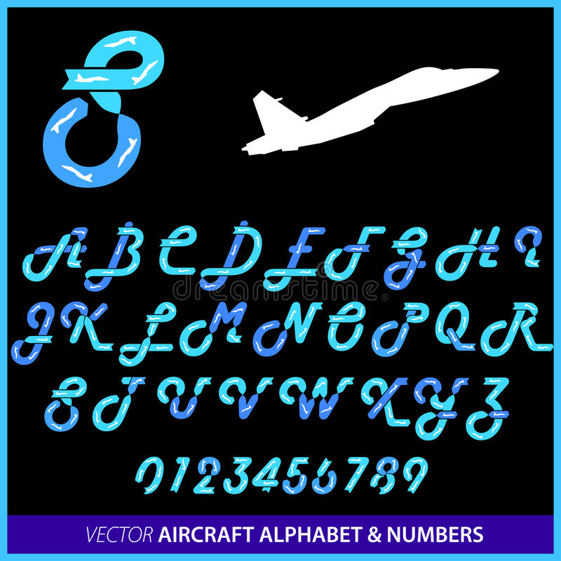 Aerobatics in an airplane alphabet vector illustration
