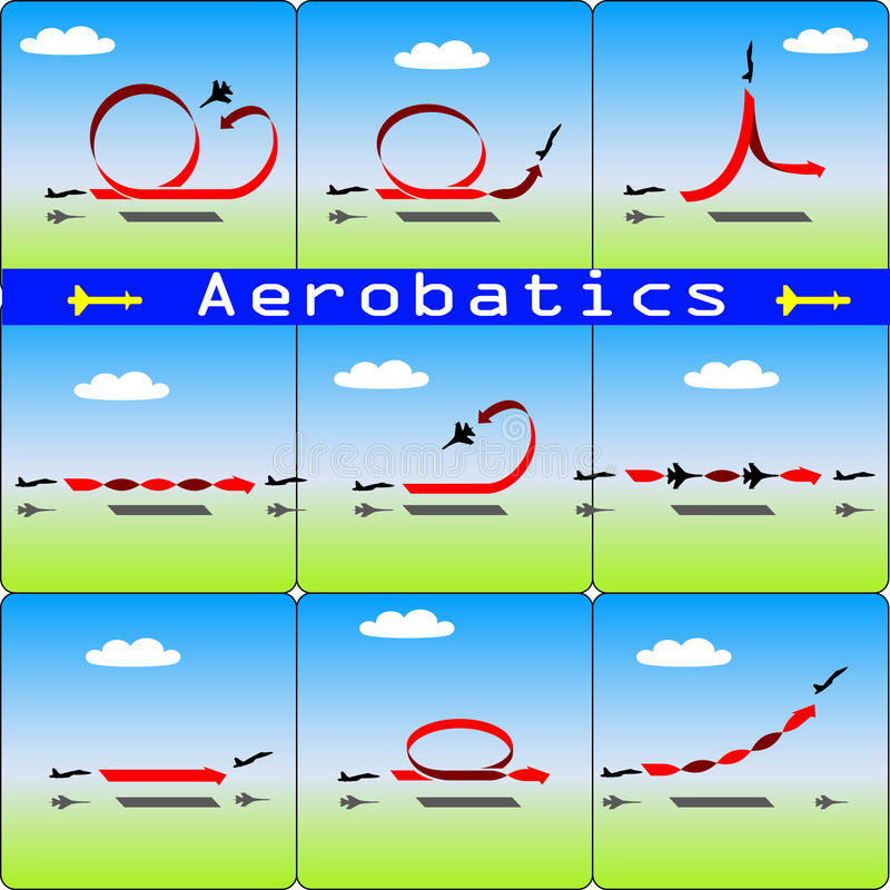 Aerobatics airplane on blue sky background stock illustration