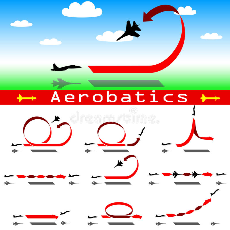 Aerobatics airplane on blue sky background vector illustration