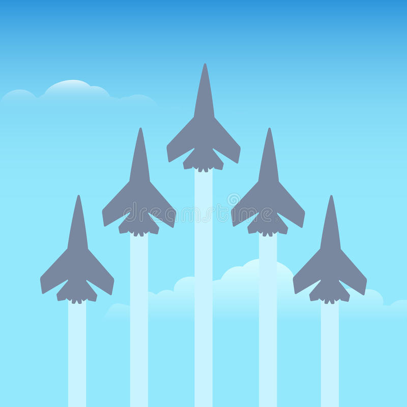 Aerobatics planes in the sky stock illustration