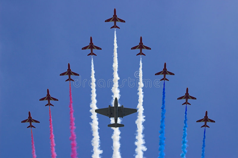 Aerobatics team the Red Arrows royalty free stock photo