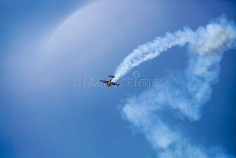 Aerobatics tricks show. In Chayka aerodrome Kiev royalty free stock images