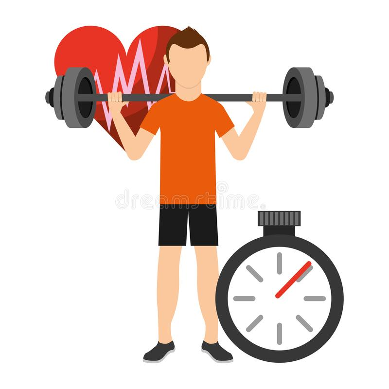 Aerobe Stärke und Körper der Eignung, die Übungen formt Mann-Stärke- und Widerstandtraining Auch im corel abgehobenen Betrag vektor abbildung