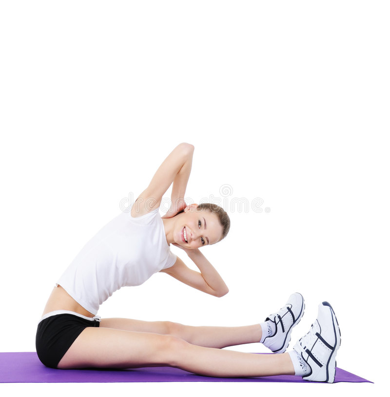 Aerobic exercises for young women's body stock photos