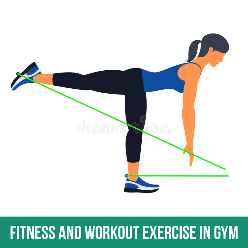 Aerobic icons. RESISTANCE BAND. Workout WITH RESISTANCE BAND. Fitness, Aerobic and workout exercise in gym. Vector set of workout icons in flat style on white vector illustration