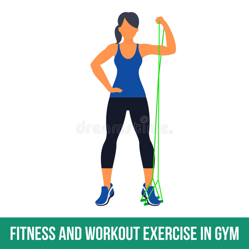 Aerobic icons. RESISTANCE BAND. Workout WITH RESISTANCE BAND. Fitness, Aerobic and workout exercise in gym. Vector set of workout icons in flat style on white royalty free illustration