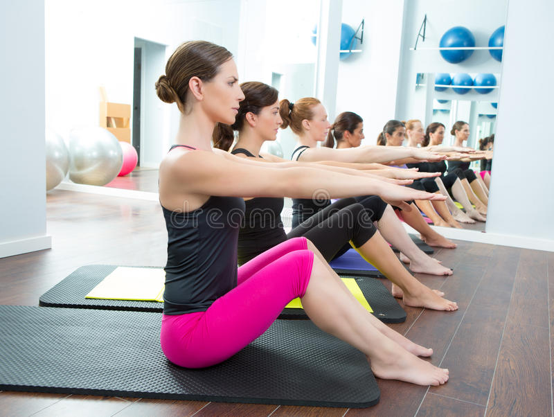 Aerobic Pilates personal trainer group class royalty free stock photos