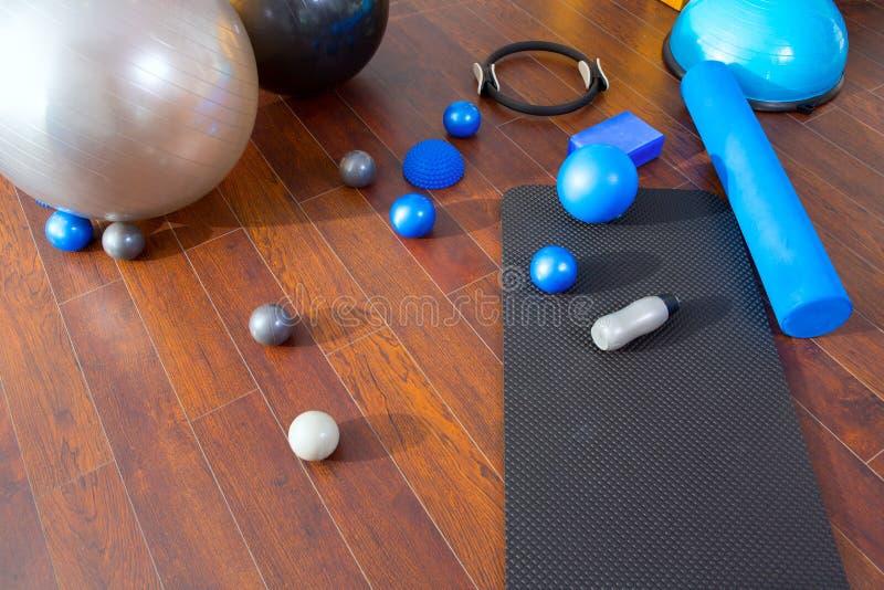 Aerobic Pilates stuff mat balls roller magic ring royalty free stock photo