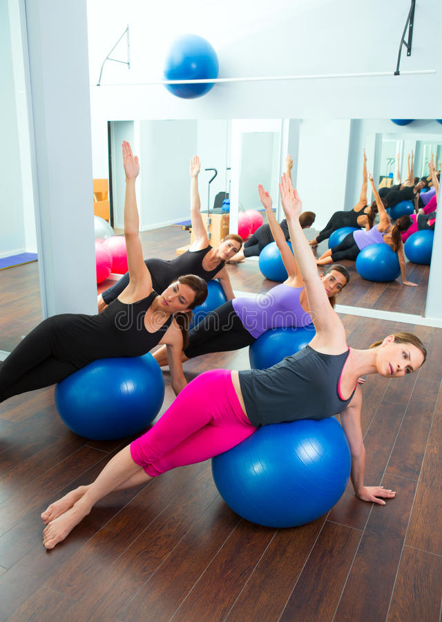 Download Aerobic Pilates Women Group With Stability Ball Stock Photo - Image: 26815458