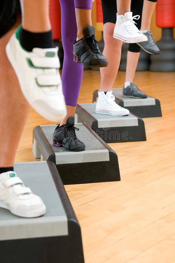 Aerobic step exercise detail stock image