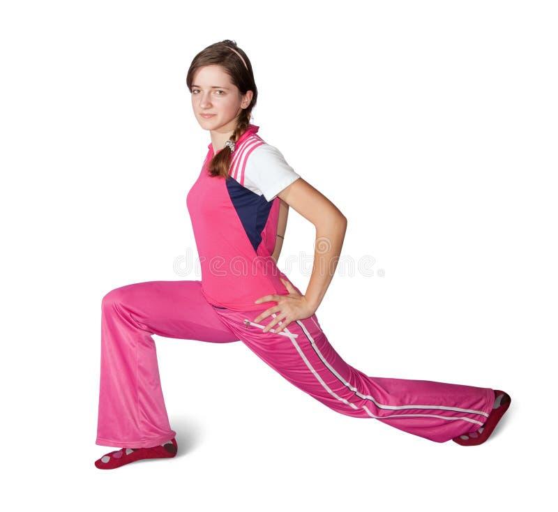 aerobics делая девушку предназначенную для подростков стоковое изображение rf