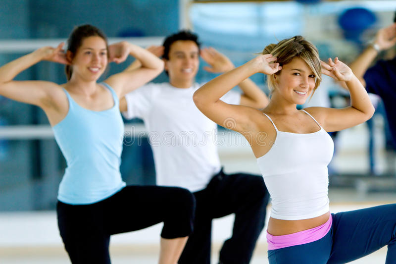 Download Aerobics class in a gym stock photo. Image of club, instructor - 12835836