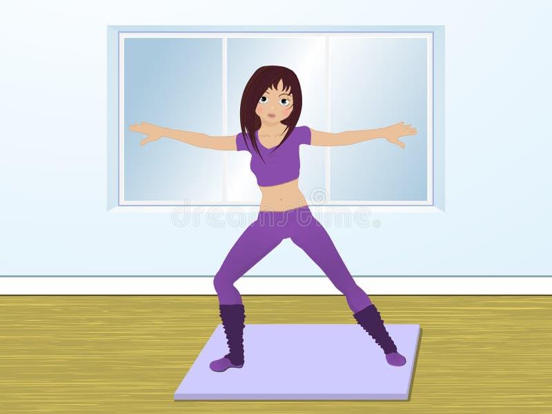 Aerobics in der Gymnastik lizenzfreie abbildung