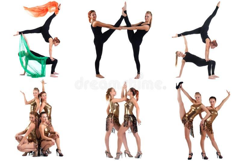 Aerobics en Dans Collage van het leuke meisjes stellen royalty-vrije stock afbeeldingen