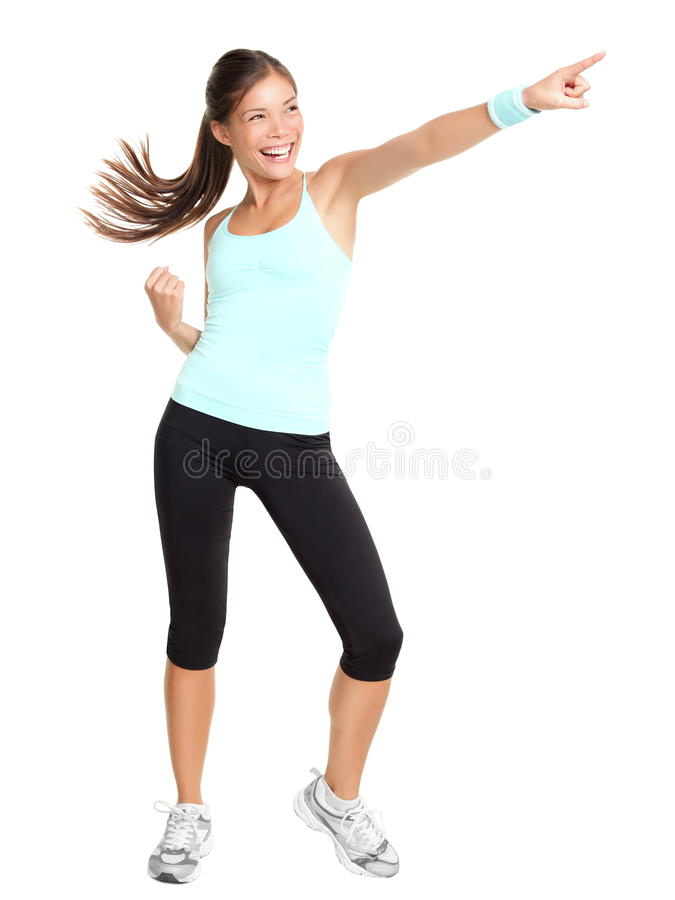 Free Aerobics Fitness Woman Pointing Royalty Free Stock Photos - 18764738