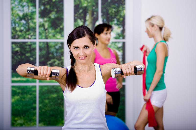 Download Aerobics girls stock photo. Image of shape, weights, build - 16874468