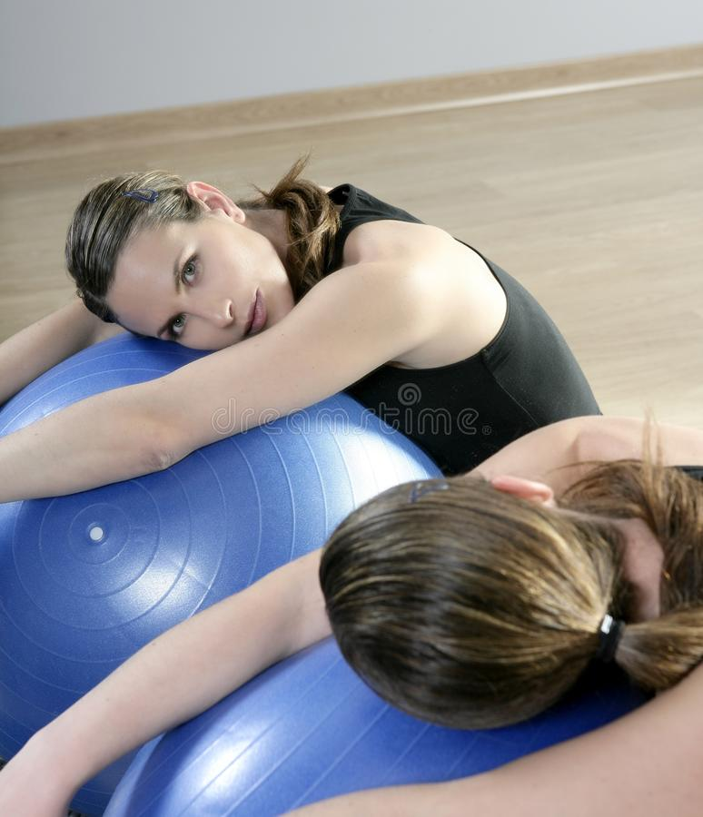 Aerobics mirror relax woman pilates stability ball royalty free stock photography