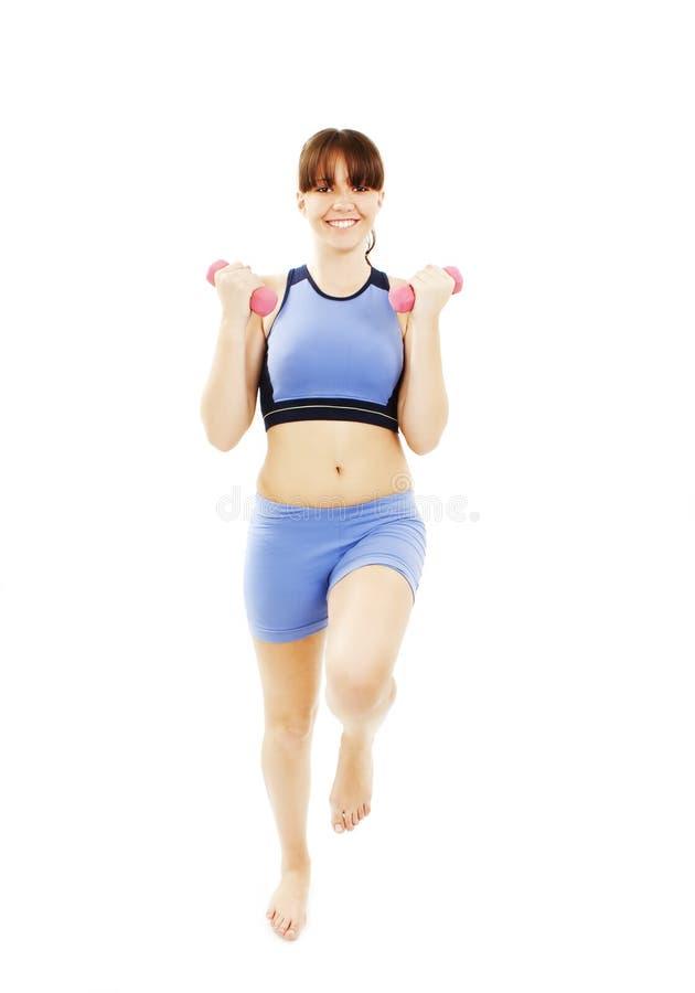 aerobics som övar konditioninstruktörkvinnan royaltyfri fotografi