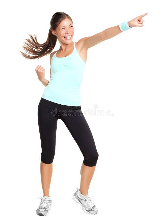 aerobicskondition som pekar kvinnan royaltyfria foton