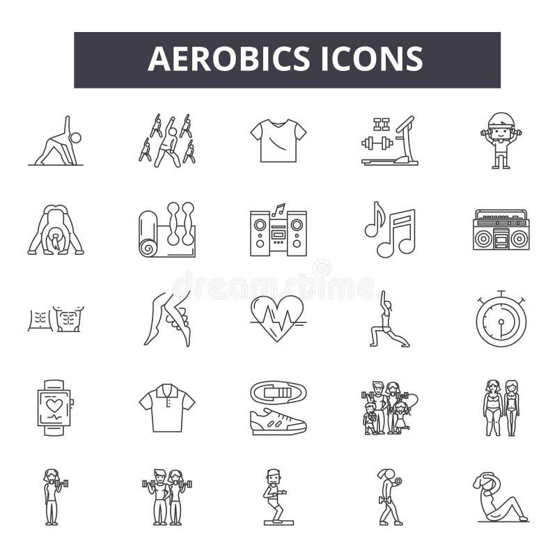 Aerobiki wykładają ikony Editable uderzenie znaki Pojęcie ikony: gym, sprawność fizyczna, trening, szkolenie, ćwiczenie klasa, ci ilustracji