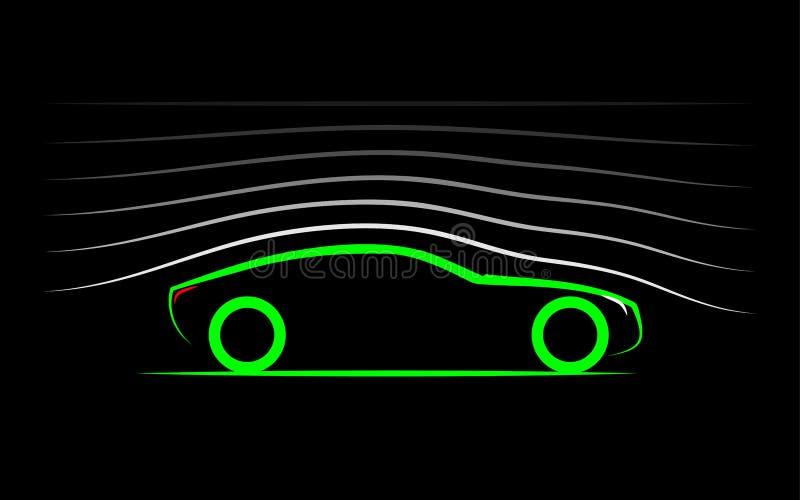 Aerodynamik av bilen royaltyfri illustrationer