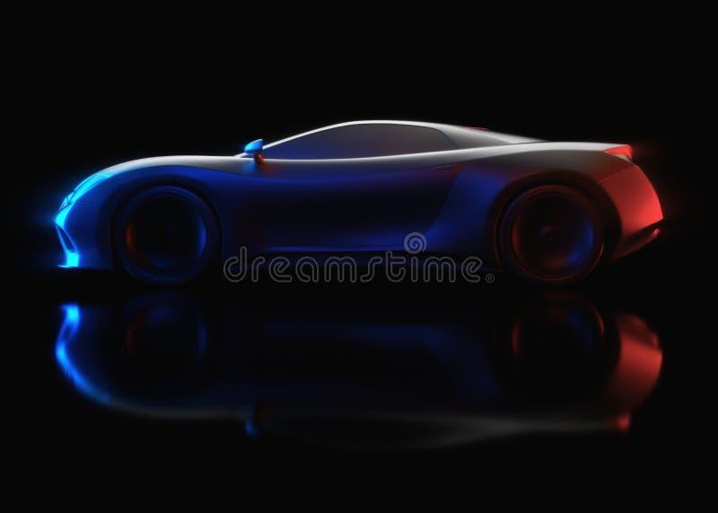 Aerodynamisches Prototyp-Sport-Auto-Konzept lizenzfreie abbildung
