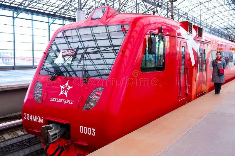 aeroexpress火车在莫斯科 库存照片