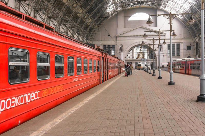 Aeroexpress rode Trein op Kiyevskaya-station royalty-vrije stock foto's