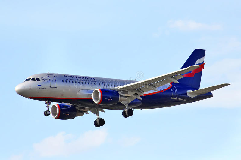 Aeroflot Airbus A319. MOSCOW - MAY 9, 2013: Aeroflot Airbus A319 arrives to Sheremetyevo International Airport, Russia stock photo