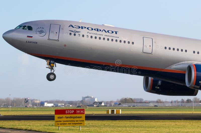 Aeroflot Airbus A330 passenger plane. AMSTERDAM, THE NETHERLANDS - JAN 9, 2019: Russian Aeroflot Airbus A330 passenger plane taking off from Amsterdam-Schiphol stock images