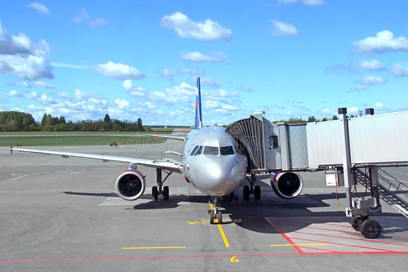 Aeroflot Airbus A319. UFA, RUSSIA - JUNE 1, 2013: Aeroflot Airbus A319 at the boarding in the Ufa International Airport royalty free stock image